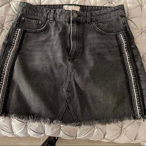 Free People Gray Denim Skirt